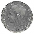 Moneda Alfonso XIII 01 Pesetas 1901 *19.01 (SMV).MBC+