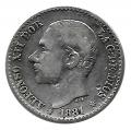 Moneda Alfonso XII 0,50 céntimos peseta 1881 * 81 (MSM).MBC