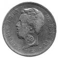 Moneda Amadeo I  05 Pesetas 1871 *18.71.MBC. RESELLO PORTUGAL