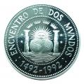 Moneda Argentina 1000 Australes 1991.Proof. I Serie Iberoamerica