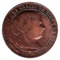 Moneda España Isabel II 2 1/2 Cent. de Escudo Jubia 1868-OM. BC