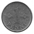 Moneda Finlandia 001 Penni 1969 MBC. Aluminio