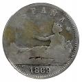 """Moneda Gobierno Provisional 01 peseta 1869 (SNM) """"ESPAÑA"""" .BC"""