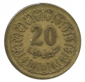 Moneda Tunez 0020 Millimes 1960 MBC