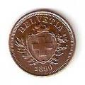 Moneda de Suiza 1 rappen 1890. MBC+