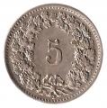 Moneda de Suiza 000005 rappen 1955. EBC