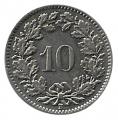 Moneda de Suiza 000010 rappen 1957. MBC