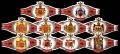 Serie Vitolas Washington. Escudos Armas Rojo. 10 Vitolas