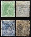 Serie sellos Cuba colonia española 0035-38. Alfonso XII (o)